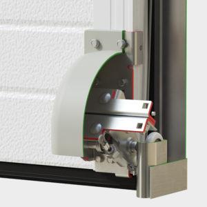 Устройство защиты от обрыва троса устанавливается в качестве нижнего кронштейна на полотно ворот. В случае обрыва троса механизм срабатывает и не дает полотну ворот упасть.
