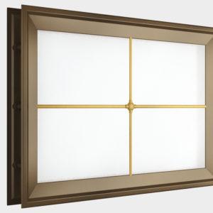 Окно акриловое 452 х 302, коричневое с раскладкой «крест» (арт. DH85628). Специальная конструкция обеспечивает плотное прилегание к полотну ворот, что защищает его от промерзания и теплопотери. Стилистическая вставка в форме креста. Окантовка коричневого цвета.