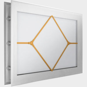Окно акриловое 452 х 302, белое с раскладкой «ромб» (арт. DH85629). Специальная конструкция обеспечивает плотное прилегание к полотну ворот, что защищает его от промерзания и теплопотери. Стилистическая вставка в форме ромба. Окантовка белого цвета.