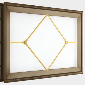 Окно акриловое 452 х 302, коричневое с раскладкой «ромб» (арт. DH85629). Специальная конструкция обеспечивает плотное прилегание к полотну ворот, что защищает его от промерзания и теплопотери. Стилистическая вставка в форме ромба. Окантовка коричневого цвета.