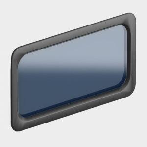 Окно акриловое 627 х 327, черное, промышленное (арт. DH85603). Специальная конструкция обеспечивает плотное прилегание к полотну ворот, что защищает его от промерзания и теплопотери. Окантовка черного цвета.