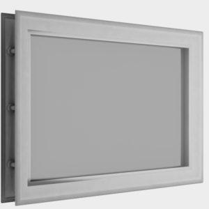 Окно акриловое 452 х 302, белое (арт. DH85626). Специальная конструкция обеспечивает плотное прилегание к полотну ворот, что защищает его от промерзания и теплопотери. Окантовка белого цвета.