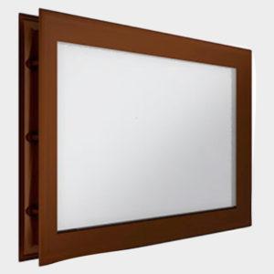 Окно акриловое 452 х 302, коричневое (арт. DH85631). Специальная конструкция обеспечивает плотное прилегание к полотну ворот, что защищает его от промерзания и теплопотери. Окантовка коричневого цвета.