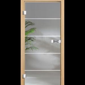 Стеклянная дверь с коробкой, облицованной натуральным шпоном