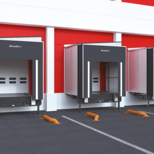 Перегрузочные тамбуры стандартной серии, DHOUSS (90/60/45/30) и DHOUSP (90/60/45/30), благодаря своей конструкции могут использоваться со всеми видами герметизаторов и уравнительных платформ как с поворотной, так и выдвижной аппарелью.