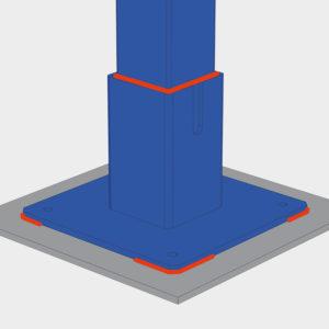На закладные элементы (металлические пластины). Используется когда на стадии подготовки площадки под установку тамбура на поверхность бетонного основания устанавливаются металлические пластины (400 х 400 мм) в заранее обозначенных местах. Такой способ монтажа наиболее предпочтителен. На бетон (с помощью анкерных болтов). Этот вариант монтажа подходит в том случае, когда металлические пластины под опоры тамбура при заливке бетонного основания не устанавливались.